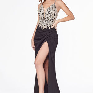 Jeweled Sleeveless Prom Long Dress